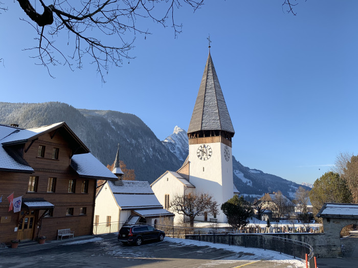 saanen church with snow
