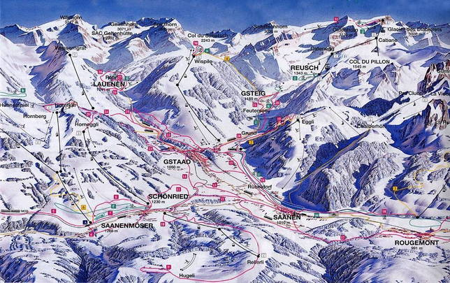 Snow/ski map of Saanenland